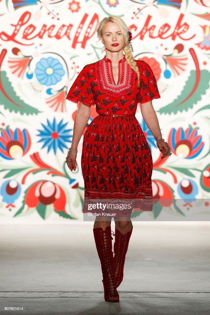 Models Franziska Knuppe walks the runway at the Lena Hoschek show during the Mercedes-Benz Fashion Week Berlin Spring/Summer 2018 at Kaufhaus Jandorf on July 4, 2017 in Berlin, Germany.