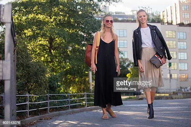 Models Frederikke Sofie Ulrikke Hoyer outside the Altuzarra show at Spring Studios on September 11 2016 in New York City Frederikke carries a Celine...