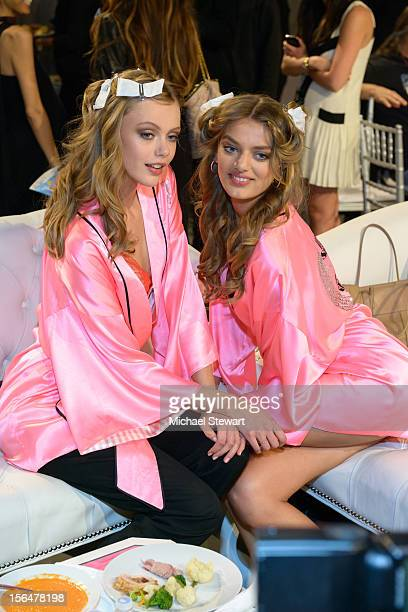 Models Frida Gustavsson and Bregje Heinen backstage at the 2012 Victoria's Secret Fashion Show at the Lexington Avenue Armory on November 7 2012 in...
