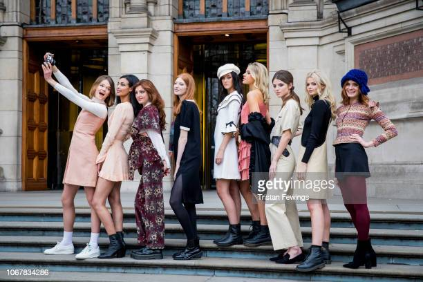 Models from the 1960s and 70s gather with contemporary models to celebrate fashion designer Mary Quant at Victoria and Albert Museum on November 15,...