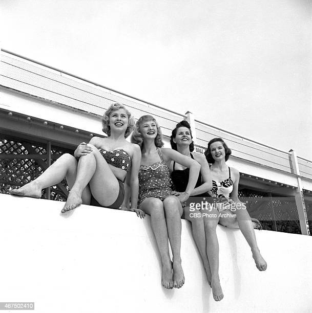 Models from the CBS gameshow The Big Payoff Cindy Robbins Connie Mavis Marion James and Pat Conway at the Steeplechase Park pool in Steeplechase Park...