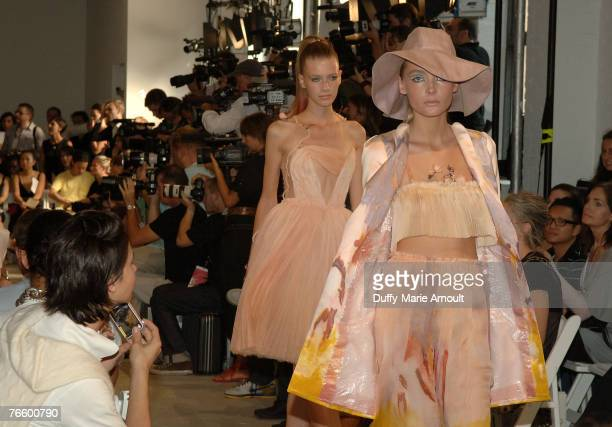 Models front row at the Rodarte Spring 2008 show during Mercedes-Benz Fashion Week Spring 2008 at 548 West 22nd street on September 8, 2007 in New...