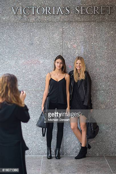Models Gabby Westbrook and Nadine Leopold attend the 2016 Victoria's Secret Fashion Show castings on October 21 2016 in New York City