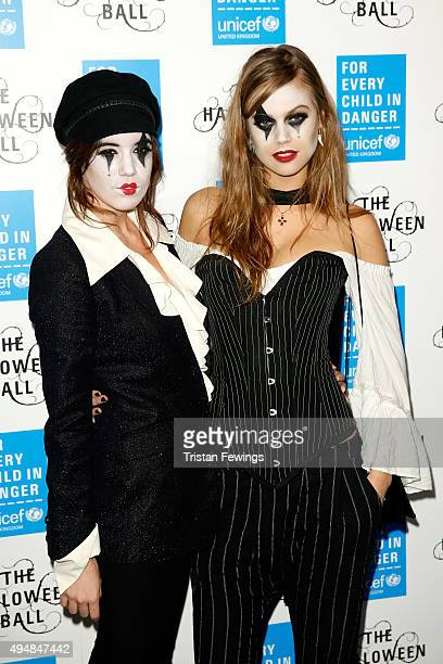 Models Gala Gordon and Jessica Clarke attend the UNICEF Halloween Ball at One Mayfair on October 29 2015 in London England