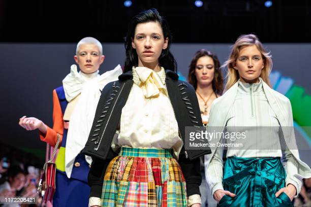 Models gather for the finale during Town Hall Runway 5 at Melbourne Town Hall at Melbourne City Baths on September 04 2019 in Melbourne Australia