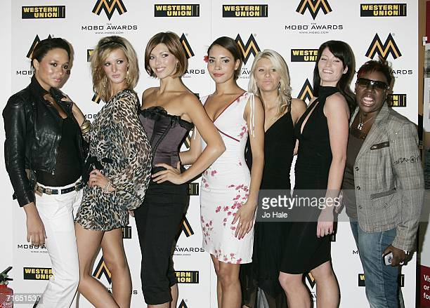 Models Georgina EdewarThorley Sophia Price Samantha Gerrard Jasmia Robinson Yvette Stubbs Tamar Higgs and Gina Yashere attend the MOBO Awards...