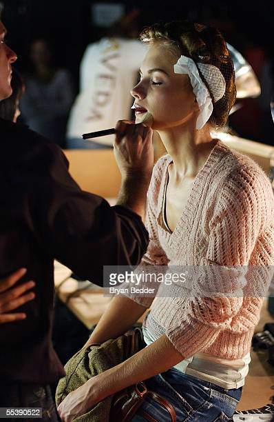 Models get makeup applied backstage at the Diesel Spring 2006 fashion show during Olympus Fashion Week at Hammerstein Ballroom September 12 2005 in...