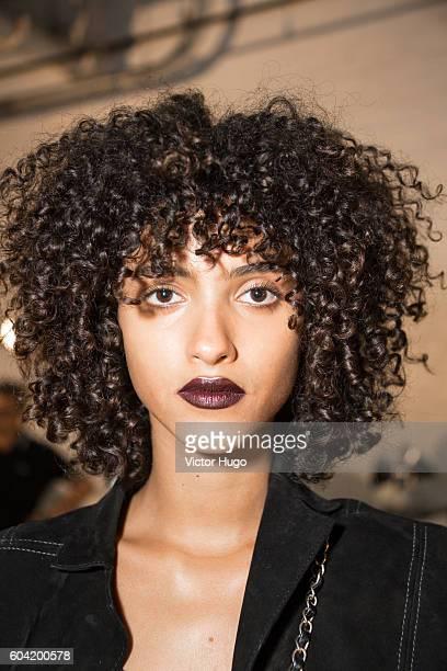 Models get makeup for DKNY Women's Backstage September 2016 New York Fashion Week at High Line on September 12 2016 in New York City