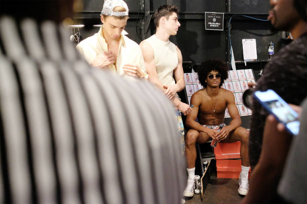 9b3b2bdb9c50 Models get prepared at the Parke And Ronen Show- Backstage - July 2018 New  York