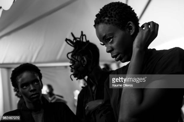 Models get ready during day three of the 16 Dakar Fashion Week at Radison Blu Hotel on June 23 2018 in Dakar Senegal