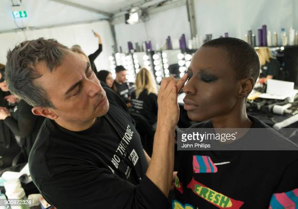 Models gets prepared backstage ahead of the Irene Luft show during the MBFW January 2018 at ewerk on January 17 2018 in Berlin Germany