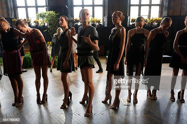 Models getting ready for Harare Spring 2015 at The Highline Hotel on September 6 2014 in New York City