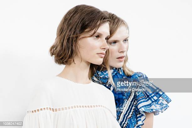 Models Giedre Dukauskaite and Sara Eirud are seen backstage ahead of the Philosophy Di Lorenzo Serafini show during Milan Fashion Week Spring/Summer...