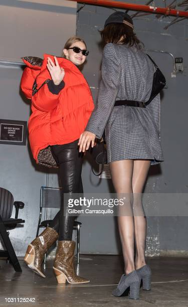 Models Gigi Hadid and Bella Hadid are seen arriving to Anna Sui SS19 fashion show during New York Fashion Week at Gallery I at Spring Studios on...