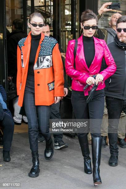 Models Gigi Hadid and Bella Hadid are seen leaving the 'Cafe de Flore' on March 3 2018 in Paris France