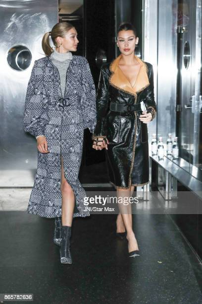 Models Gigi Hadid and Bella Hadid are seen on October 23 2017 in New York City