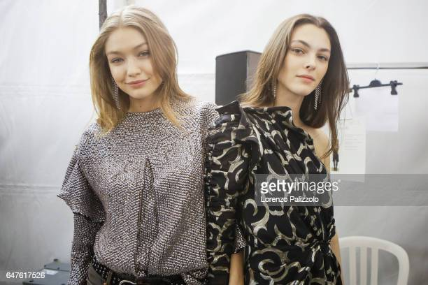 Models Gigi Hadid and Vittoria Ceretti are seen before the Isabel Marant show as part of the Paris Fashion Week Womenswear Fall/Winter 2017/2018 on...