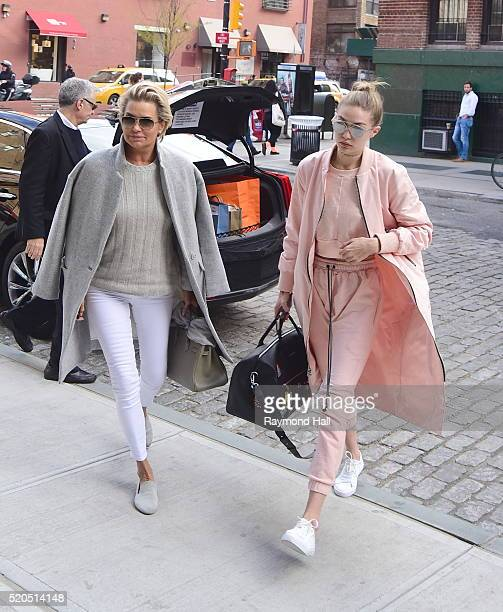 Models Gigi Hadid and Yolanda Foster are seen walking in Soho on March 11 2016 in New York City