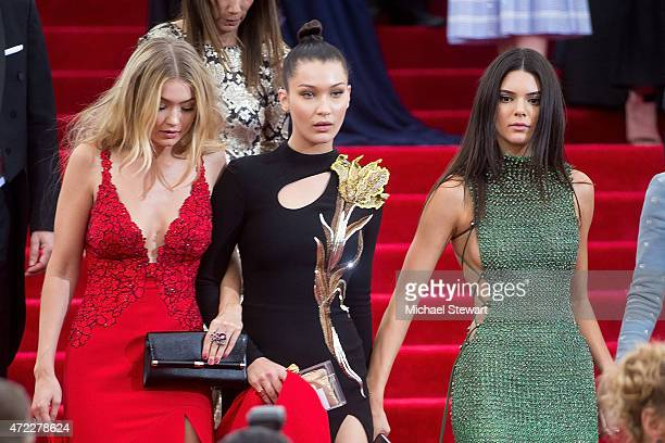 Models Gigi Hadid Bella Hadid and Kendall Jenner attend the 'China Through The Looking Glass' Costume Institute Benefit Gala at Metropolitan Museum...