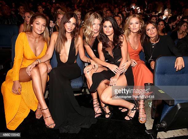 Models Gigi Hadid Lily Aldridge Martha Hunt actress/singer Selena Gomez model Karlie Kloss and Mariska Hargitay attend the 2015 MTV Video Music...
