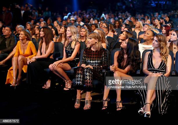 Models Gigi Hadid Lily Aldridge Martha Hunt recording artist Taylor Swift actress/singer Selena Gomez attend the 2015 MTV Video Music Awards at...