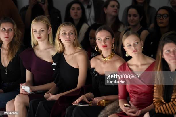 Models Ginta Lapina Valentina Zelyaeva Alicia Rountree and Magdalena Frackowiak attend the Chiara Boni La Petite Robe collection during New York...
