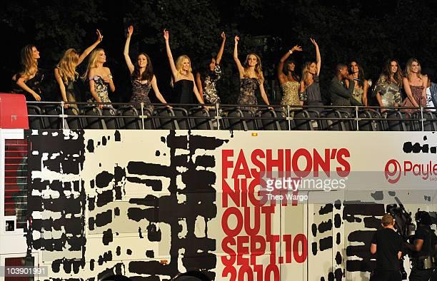 Models Gisele Bundchen Sasha Pivovarova Lily Donaldson Coco Rocha Lara Stone Jourdan Dunn Caroline Trentini Naomi Campbell singer Pharrell Chanel...