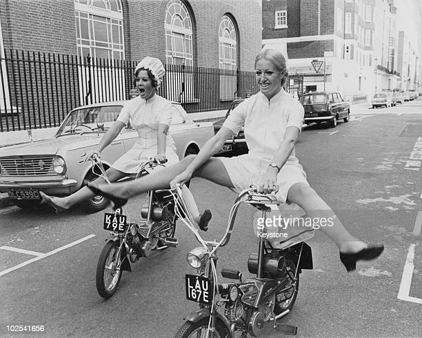 Models Glenda Warrington and Caroline Whineray demonstrate the extra freedom and mobility afforded by the latest culotte dresses for nurses 16th...