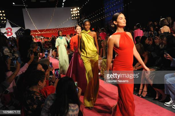 Models Grace Elizabeth and Lily Aldridge walk the runway for the Brandon Maxwell fashion show during New York Fashion Week at Classic Car Club on...