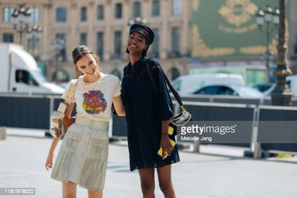 Models Greta Varlese and Tami Williams after the Dundas show during Couture Fashion Week Fall/Winter 2019 on July 01, 2019 in Paris, France. Greta...
