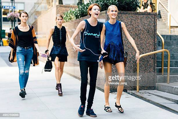 Models Greta Varlese Vera Van Erp Natalie Westling and Harleth Kuusik exit the Hugo Boss show in Midtown on September 16 2015 in New York City...