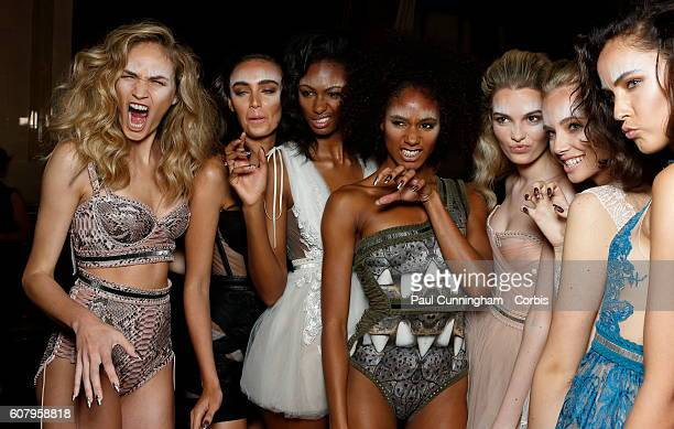 Models group and have some fun backstage ahead of the Kristian Aadnevik show during London Fashion Week Spring/Summer collections 2016/2017 on...