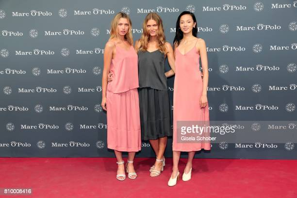 Models Hana Jirickova Malgosia Bela Ju Xiaowen during the 50th anniversary celebration of Marc O'Polo at its headquarters on July 6 2017 in...