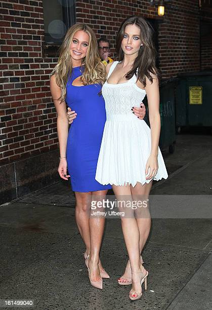 Models Hannah Davis and Emily DiDonato arrive to Late Show with David Letterman at Ed Sullivan Theater on February 11 2013 in New York City