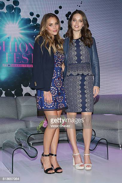 Models Hannah Davis and Emily DiDonato attend a press conference during the Liverpool Fashion Fest Spring/Summer 2016 at Televisa San Angel on March...