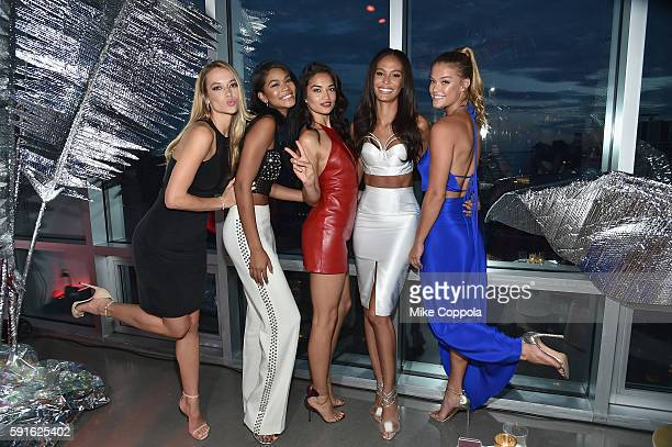 Models Hannah Ferguson Chanel Iman Shanina Shaik Joan Smalls and Nina Agdal attend the W Hotel party to celebrate the opening of W Dubai on August 17...