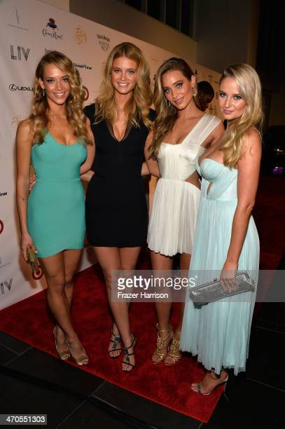 Models Hannah Ferguson Kate Bock Hannah Davis and Genevieve Morton attend Club SI Swimsuit at LIV Nightclub hosted by Sports Illustrated at...