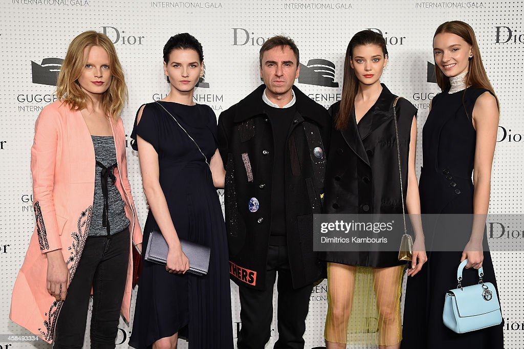 Models Hanne Gaby Odiele and Katlin Aas, Fashion designer Raf Simons and models Diana Moldovan and Irina Liss attend the Guggenheim International Gala Pre-Party made possible by Dior on November 5, 2014 in New York City.