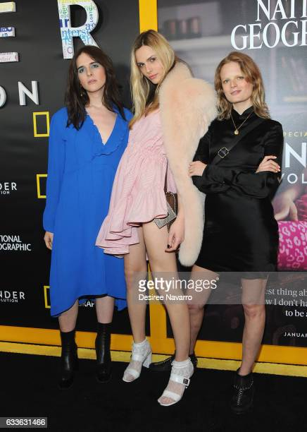 Models Hari Nef Andreja Pejic and Hanne Gaby Odiele attend 'Gender Revolution A Journey With Katie Couric' New York Premiere at TheTimesCenter on...