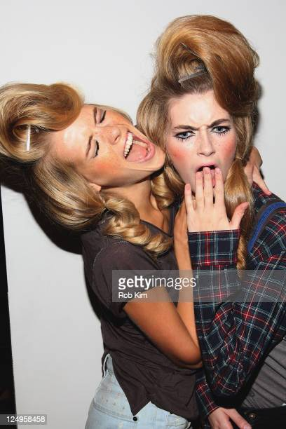 Models have fun backstage at the Jeremy Scott Spring 2012 fashion show during MercedesBenz Fashion Week at Milk Studios on September 14 2011 in New...