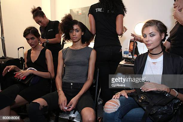 Models have their hair prepared by TRESemme backstage during New York Fashion Week: The Shows at The Gallery, Skylight at Clarkson Sq on September 8,...