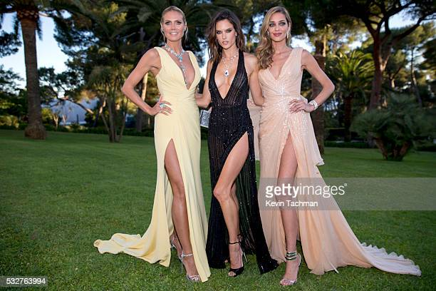 Models Heidi Klum Alessandra Ambrosio and Ana Beatriz Barros attends the amfAR's 23rd Cinema Against AIDS Gala at Hotel du CapEdenRoc on May 19 2016...