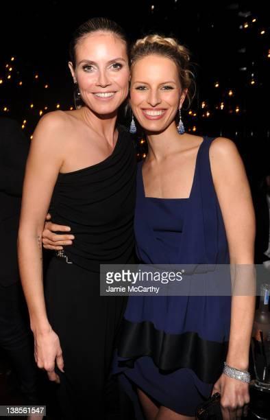 Models Heidi Klum and Karolina Kurkova attend the amfAR New York Gala To Kick Off Fall 2012 Fashion Week After Party at The Double Seven on February...