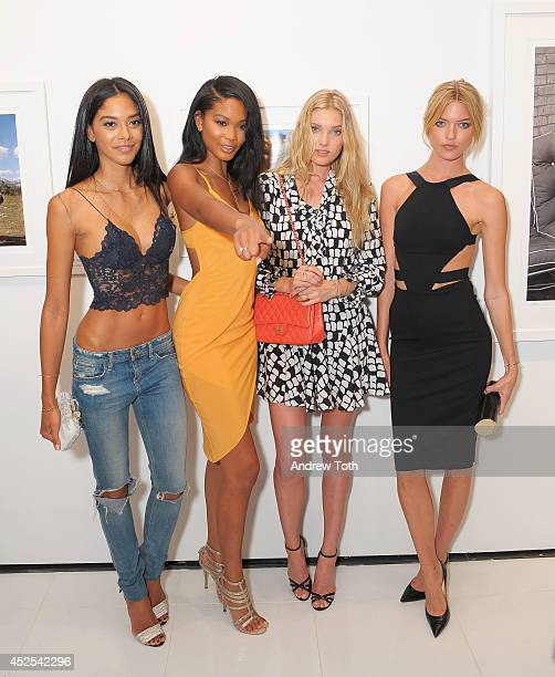 Models Heidy De la Rosa Chanel Iman Elsa Hosk and Martha Hunt attend the MARILYN The Lost Photos Of A Hollywood Star opening night exhibit at Sumo...