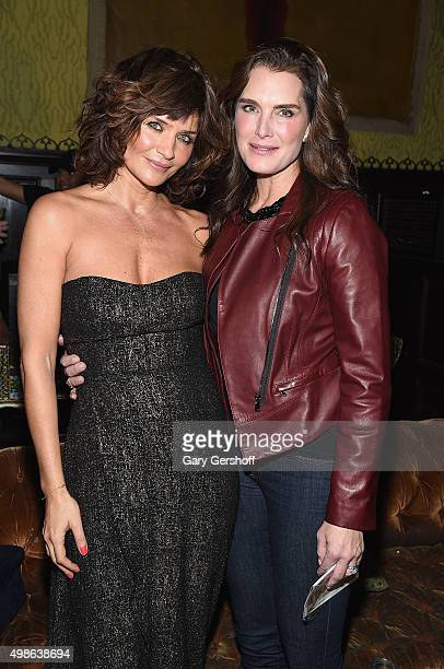 Models Helena Christensen and Brooke Shields attend the Reserved Magazine: Issue 3 Launch Party at The Jane Hotel on November 24, 2015 in New York...