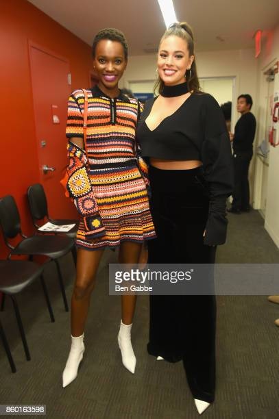 Models Herieth Paul and Ashley Graham attend Glamour's The Girl Project on the International Day of the Girl on October 11 2017 in New York City