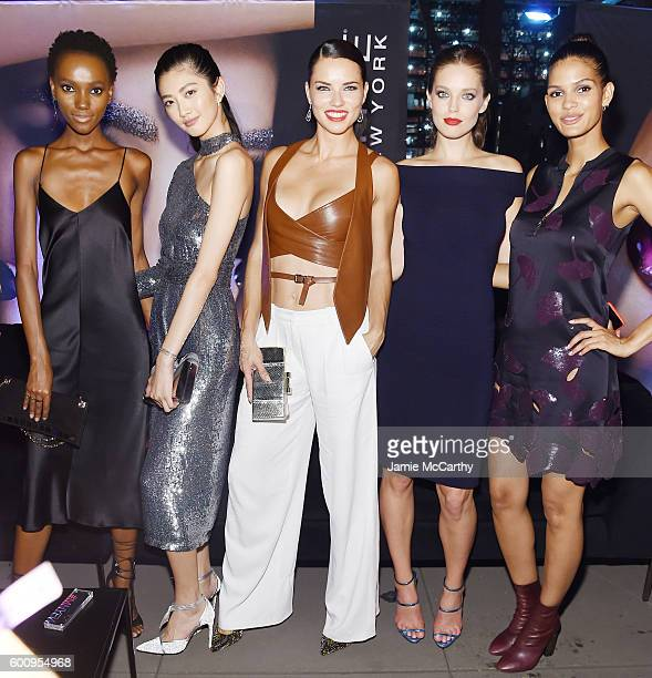 Models Herieth Paul IHua Wu Adriana Lima Emily DiDonato and Cris Urena attend the Maybelline New York NYFW KickOff Party on September 8 2016 in New...