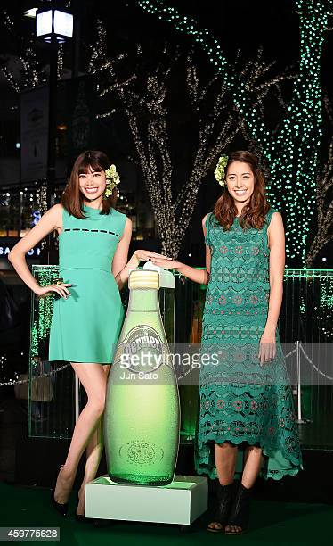 Models Hikari Mori and Izumi Mori attend the Omotesando Illumination Lighting Ceremony on December 1 2014 in Tokyo Japan