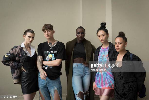 Models Holly Watson Gio Henri Tokio James Rowena Kang and Tanya Bunter pose in full makeup outside the Royal Exhibition Building on March 13 2020 in...