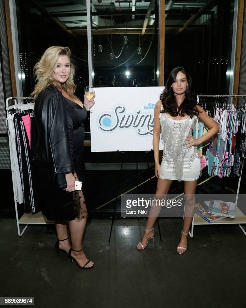 Models Hunter McGrady and Anne de Paula attend the SI Swimsuit 2018 Model Search celebration and preview of the Sports Illustrated Swim and Active...